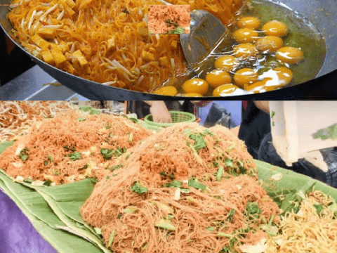Bangkok,Street Food,Cooking,Five,Types,of Noodles,Thailand,